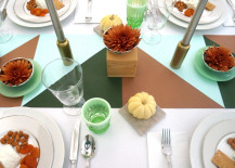 Thanksgiving table green and copper