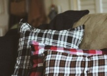 Throw pillows made from plaid flannel shirts