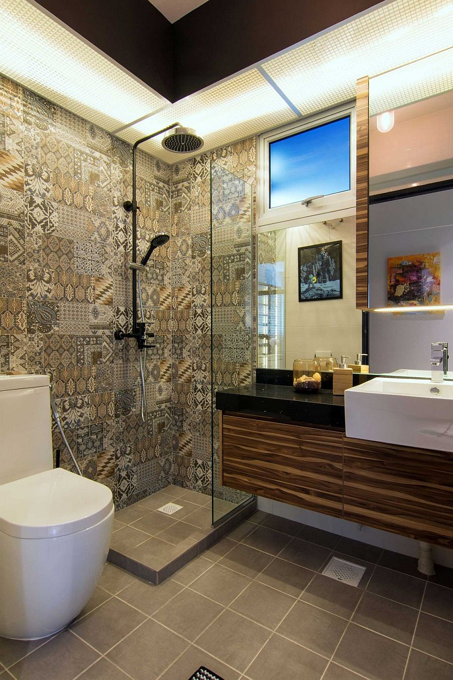 Tiles bring pattern and color to shower area in the bathroom
