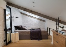 Tiny attic bedroom in white