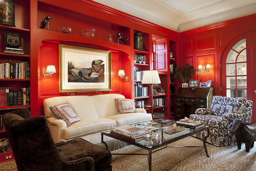 Traditional home office with a glossy sheen of red [Design: Archer & Buchanan Architecture / Tom Crane Photography]