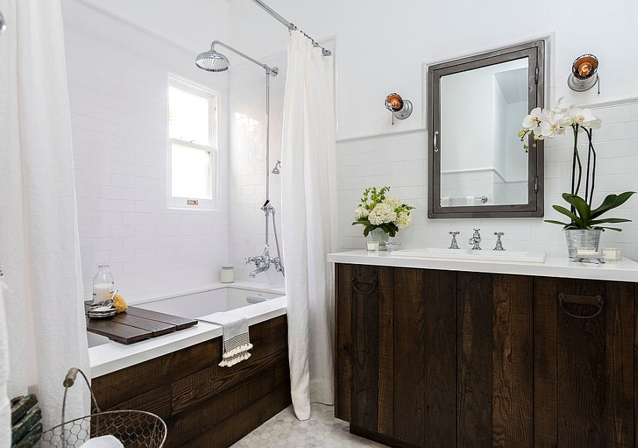 Transitional bathroom with fabulous use of reclaimed wood [Design: Laura Schwartz-Muller / FOUR POINT Design+Construction]