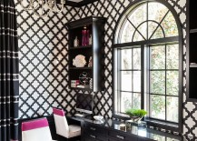 Transitional black and white home office infused with a splash of Fuchsia