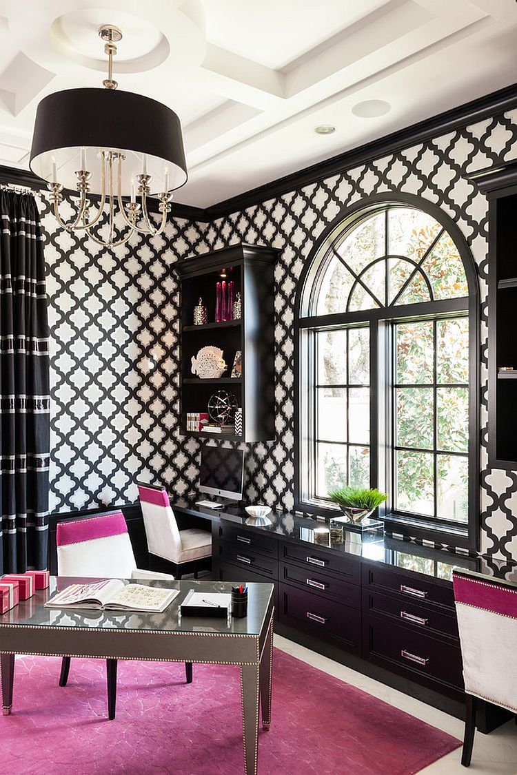 Design Black And White Office 30 black and white home offices that leave you spellbound transitional office infused with a splash of fuchsia design marilee
