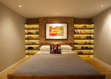 Turn the accent brick wall in the bedroom into a sparkling architectural feature