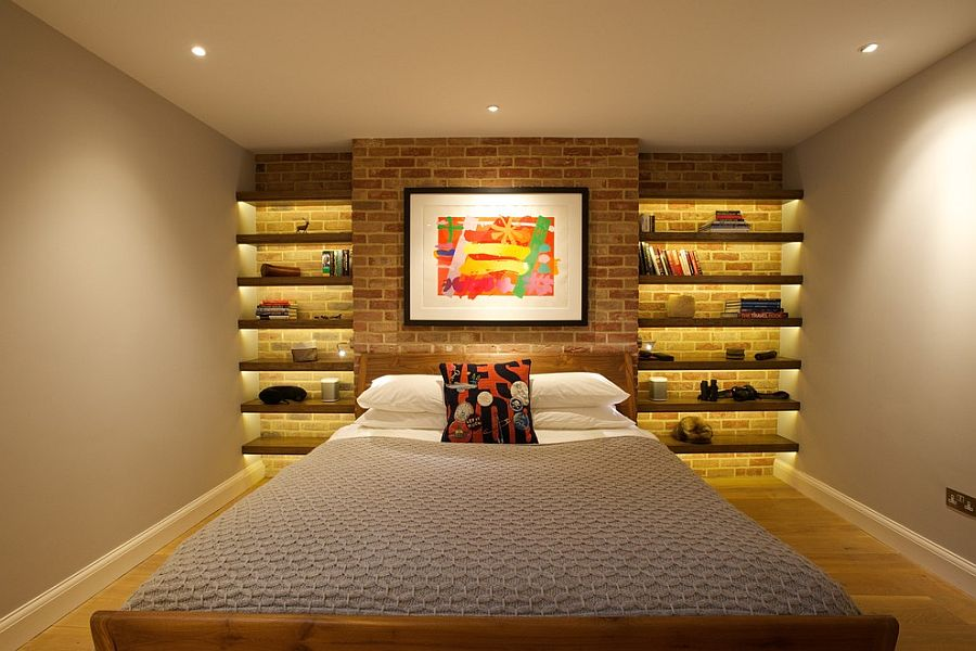 Turn the accent brick wall in the bedroom into a sparkling architectural feature [Design: Sian Baxter Lighting Design]