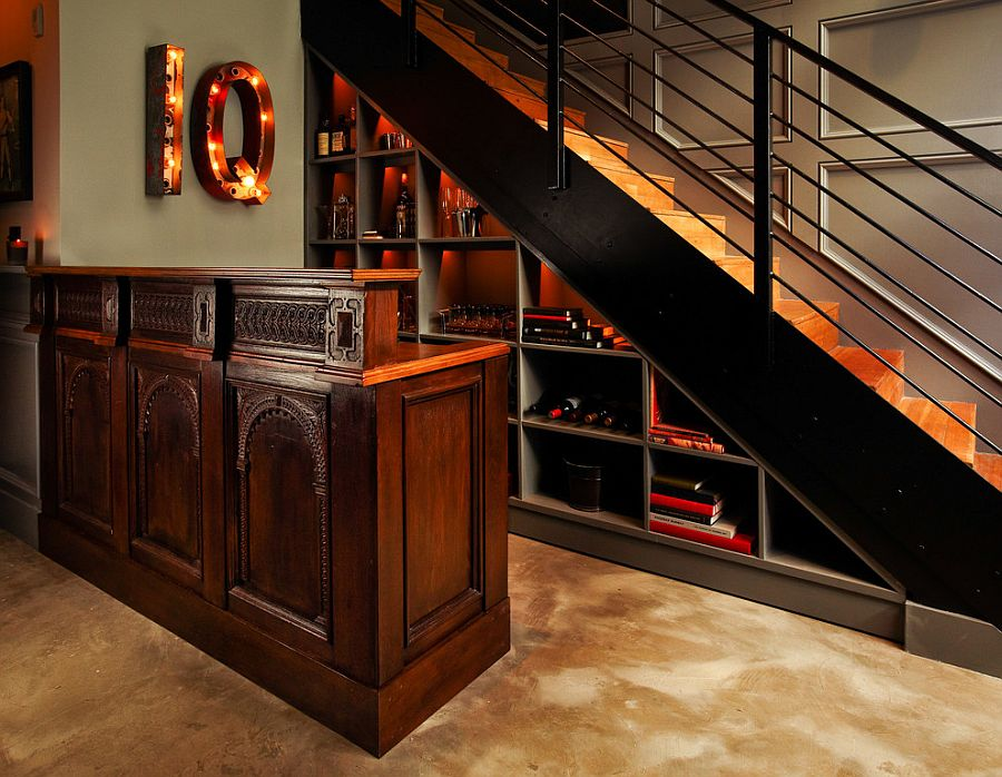 basement wet bar under stairs.  Turn the space under stairs into a lovely home bar From Central Meridian 20 Eye Catching Under Stairs Wine Storage Ideas