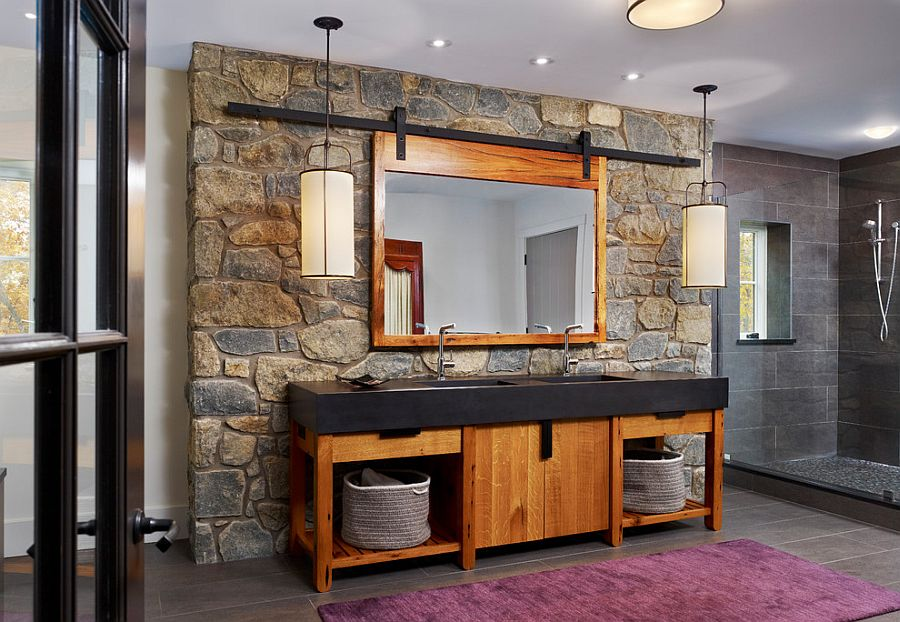 Modern Rustic Bathroom Design Stone Wall Wood Bathroom Vanity With Black  Countertop Wood Framed Mirror Purple