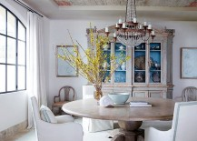 Turn to the ceiling to bring excitement to the shabby chic dining room
