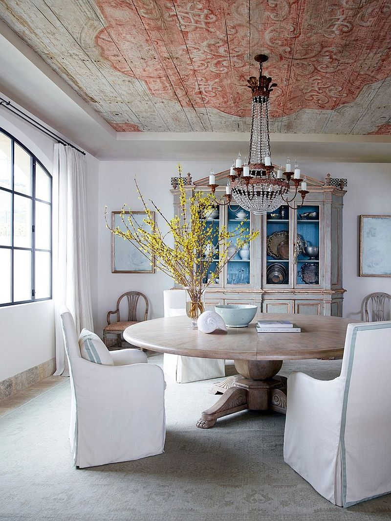 Turn to the ceiling to bring excitement to the shabby chic dining room [Design: Homer Oatman]