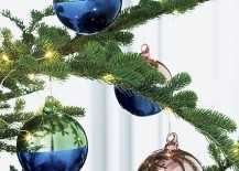 Two tone ornaments from CB2 217x155 Top Color Trends for the Winter Holidays