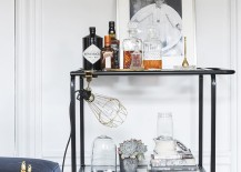 Uncluttered bar cart idea
