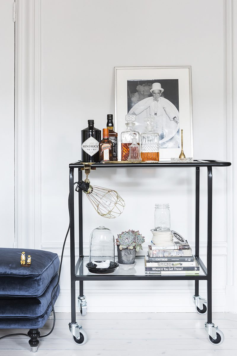 Uncluttered bar cart idea