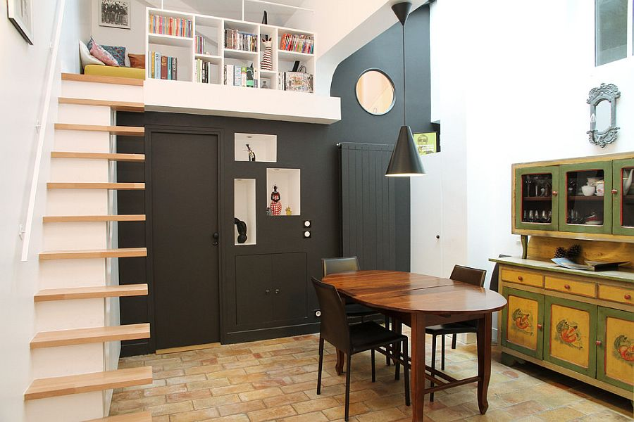Unique and inventive take on dining room and library combination!