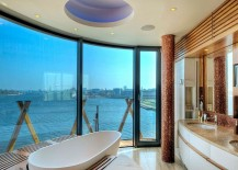 Unique bathroom design and bathrub make most of the view on offer