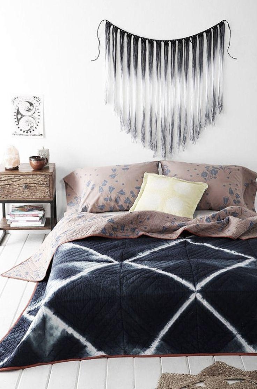 Very dark indigo shibori bed spread