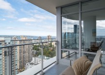 View of the distant port from the lovely, luxurious Vancouver apartment