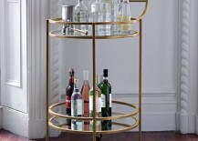 Vintage-style bar cart from West Elm