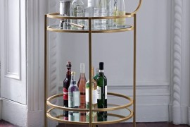 Vintage-style bar cart from West Elm Stocking Your Holiday Bar Cart Stocking Your Holiday Bar Cart Vintage style bar cart from West Elm 270x180