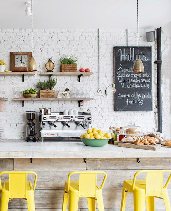View In Gallery Vintage Themed Kitchen With A Bright Yellow Bar Stools