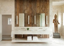 Vintage wooden accent wall in the soothing, rustic bathroom