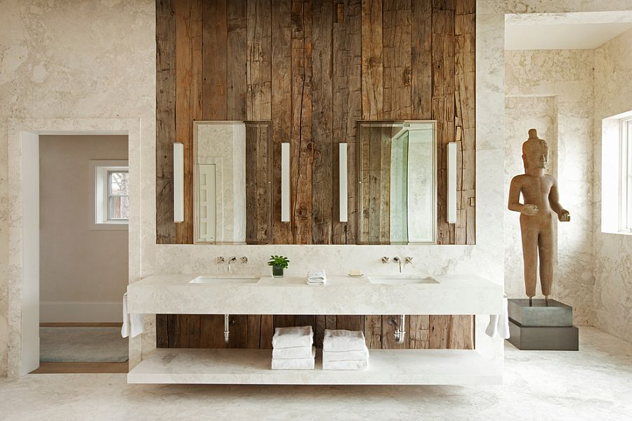Vintage wooden accent wall in the soothing, rustic bathroom [Design: Frank de Biasi Interiors]