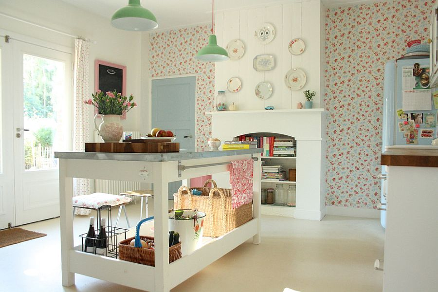 Wallpaper brings a vintage charm to the cool shabby chic kitchen in white [From: Holly Marder]