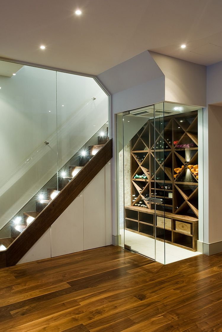 Walnut veneer wine boxes inside the contemporary wine cellar [Design: Urban Cape]