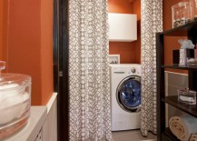 Washer and dryer hidden behind a great looking curtain