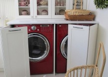 Washer and dryer hidden in a kitchen hutch