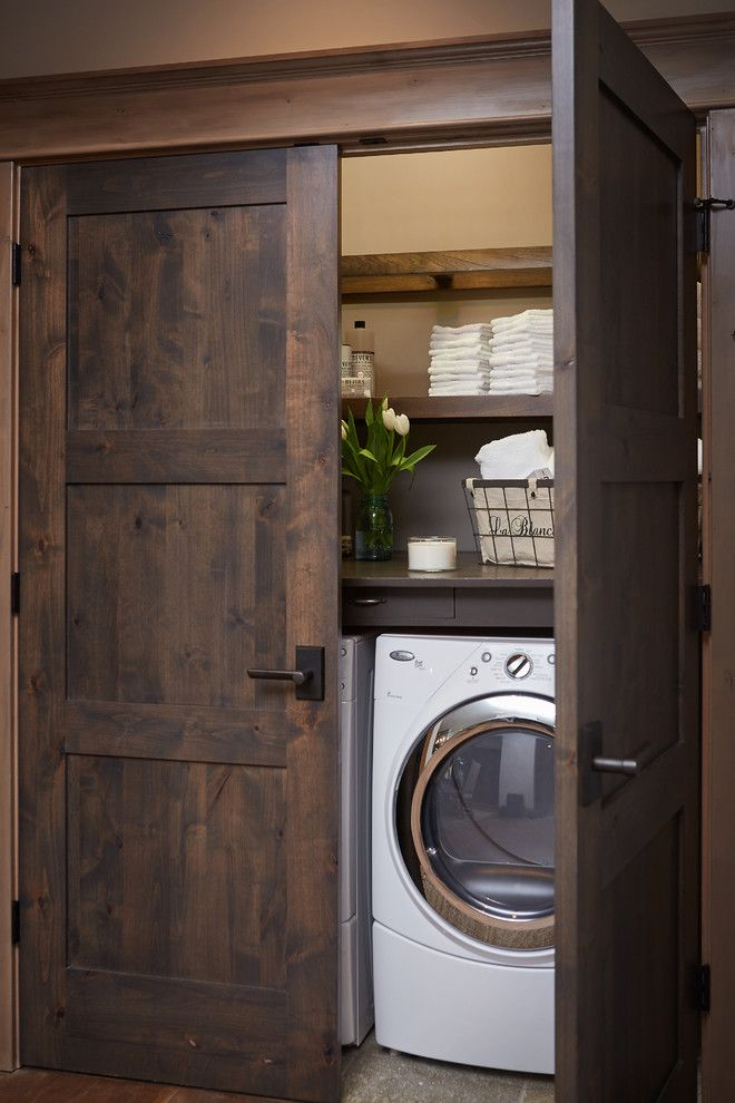 ... Washers And Laundry Cabinets. View In Gallery Washer And Dryer Hidden  In Closet With Beautiful Dark Wooden Doors