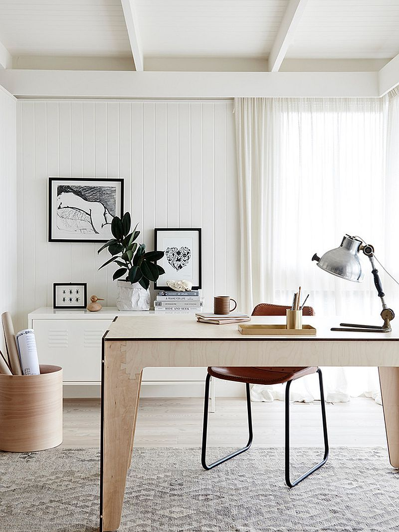 White Scandinavian home office with a hint of black [From: Plyroom]