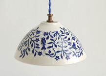 White and blue porcelain pendant from Sue Canizares Ceramics