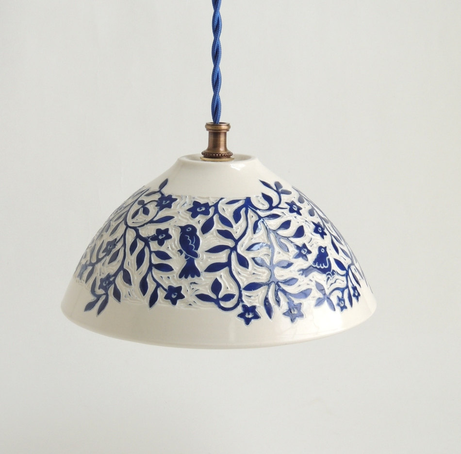 White and blue porcelain pendant from Sue Canizares Ceramics