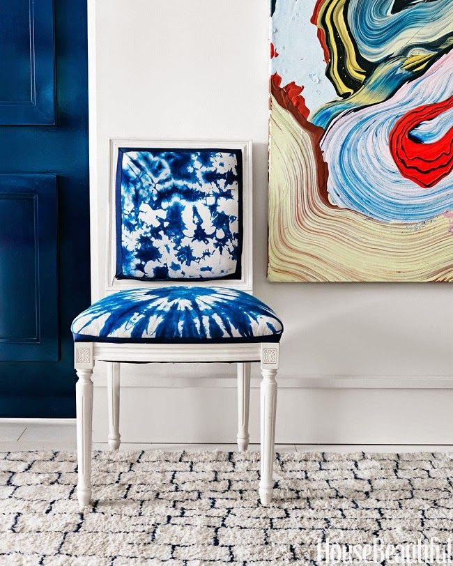 White chair with Shibori dyed upholstery
