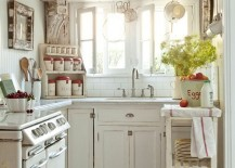 White cottage shabby chic kitchen with pops of red