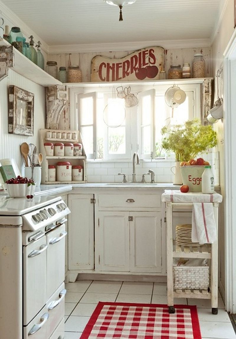 country themed kitchen decor.  White cottage shabby chic kitchen with pops of red Design Sunday Henrickson for Tumbleweed 50 Fabulous Shabby Chic Kitchens That Bowl You Over