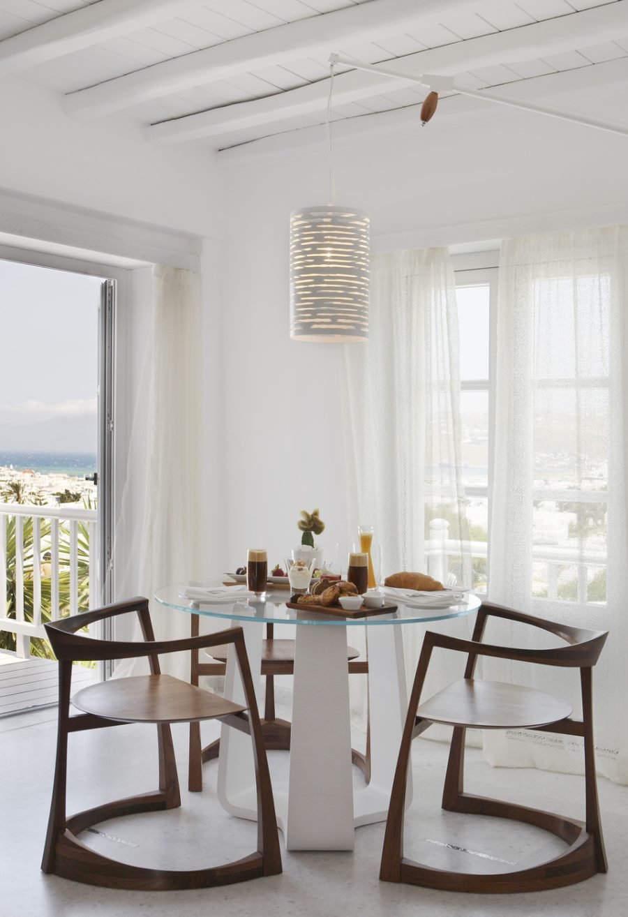 View In Gallery White Cylindrical Pendant Light A Bright Dining Room