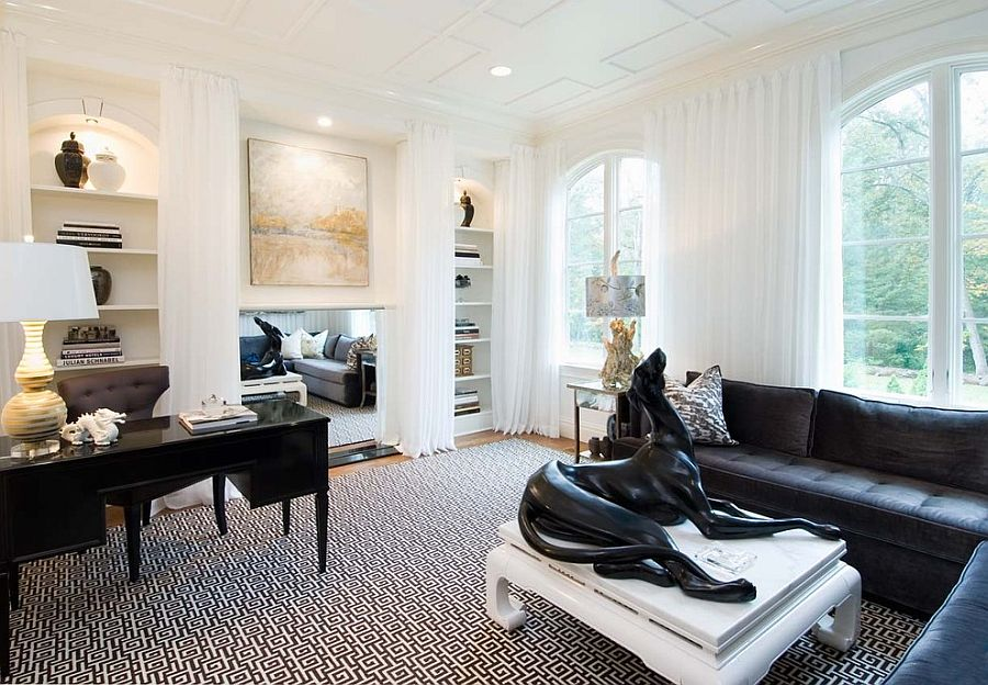 Remarkable 30 Black And White Home Offices That Leave You Spellbound Largest Home Design Picture Inspirations Pitcheantrous