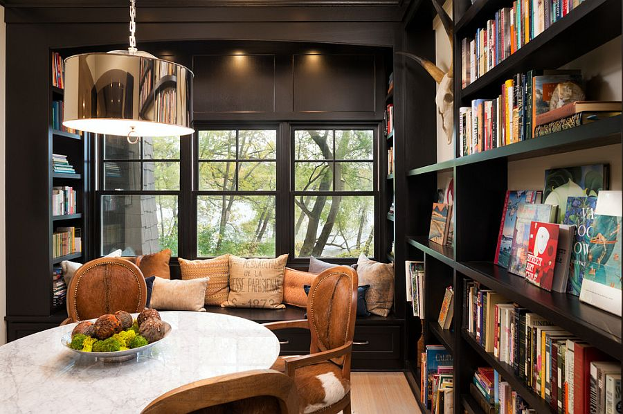 25 dining rooms and library combinations ideas inspirations for Small reading room design ideas