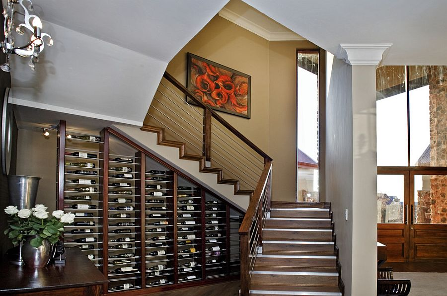 Wine storage turns into an eye-catching display [Design: DOWN to Earth Architects]