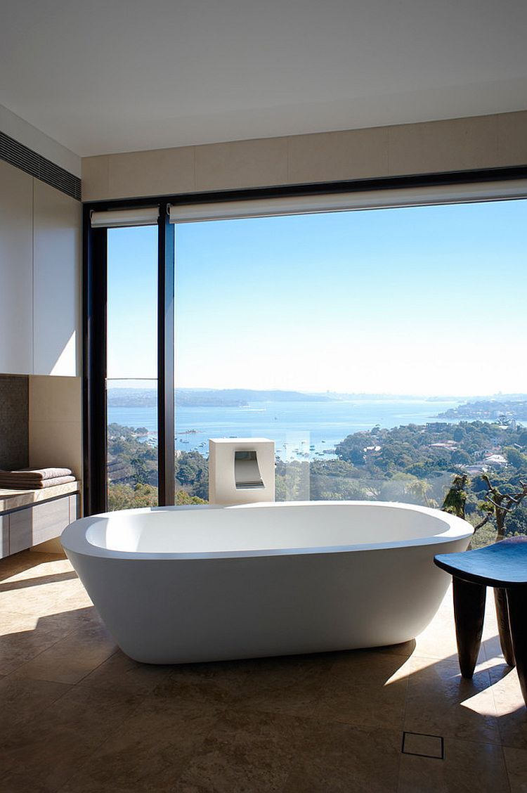 Wonderful framing of the distant view turns the minimal bathroom into a relaxing retreat [Design: Leung Architects]