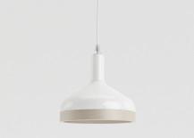 Wood and porcelain pendant lamp