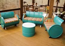 55-gallon steel drums repurposed into beautiful patio furniture