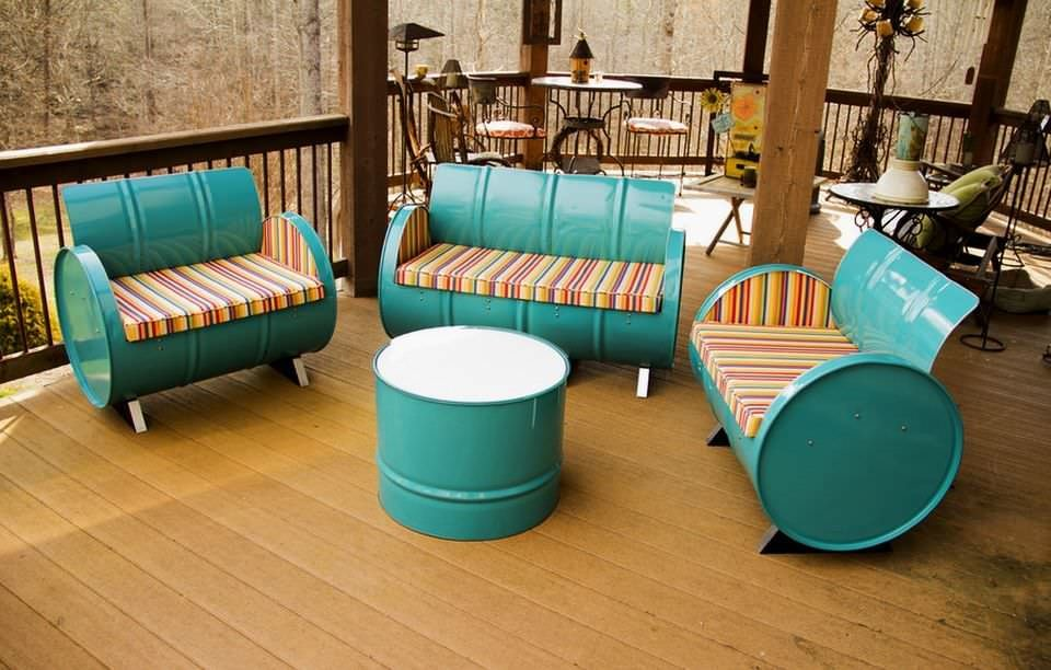 55-gallon steel drums repurposed into beautiful patio furniture