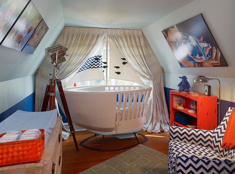 A dash of orange brings playful elegance to the small nursery [From: AMW Design]