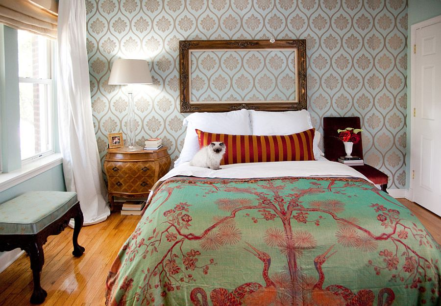 Different wallpaper inside the frame would make this bedroom even more fun [Design: Lisa Wolfe Design]