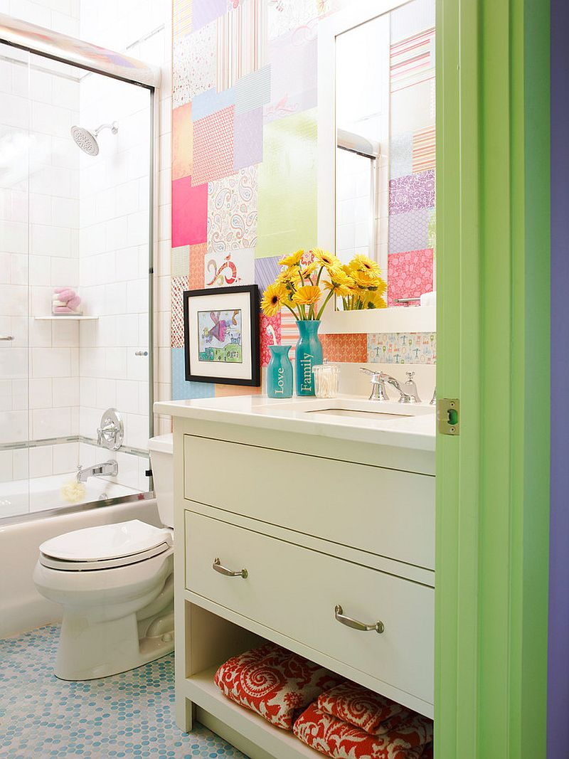 A patchwork of different wallpapers adds color to the kids' bathroom [Design: Mi-Kin Creations]