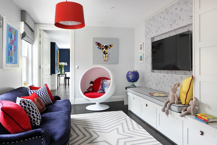 A perfect blend combing the playroom and guestroom in style for Playroom living room combination