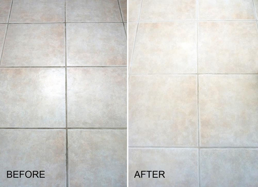 Does Cleaning Grout With Baking Soda And Vinegar Really Work - Bleaching grout floor tiles